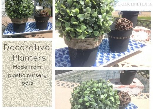 Quick And Easy Decorative Planters Made For Free From Plastic Nursery Pots Plastic Nursery Pots Decorative Planters Garden Containers