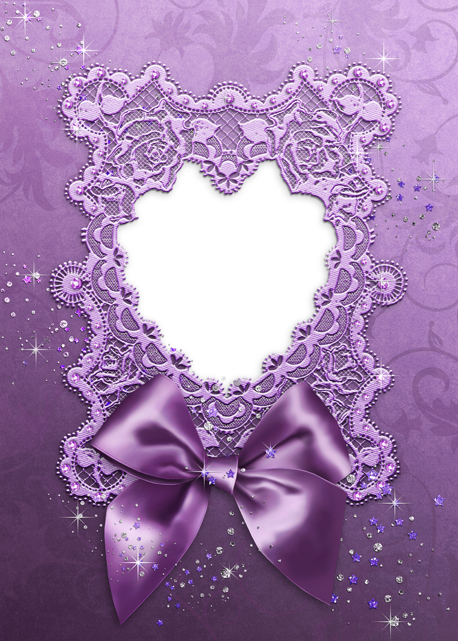 Purple Bow and Heart Transparent Frame | Printable | Pinterest ...