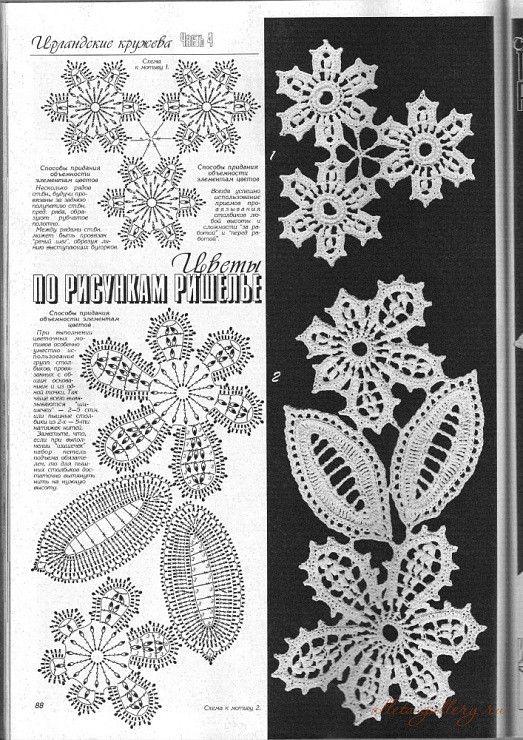 Flores y Hojas de Irlanda - Desvío Crochet - divertido el blog de ...