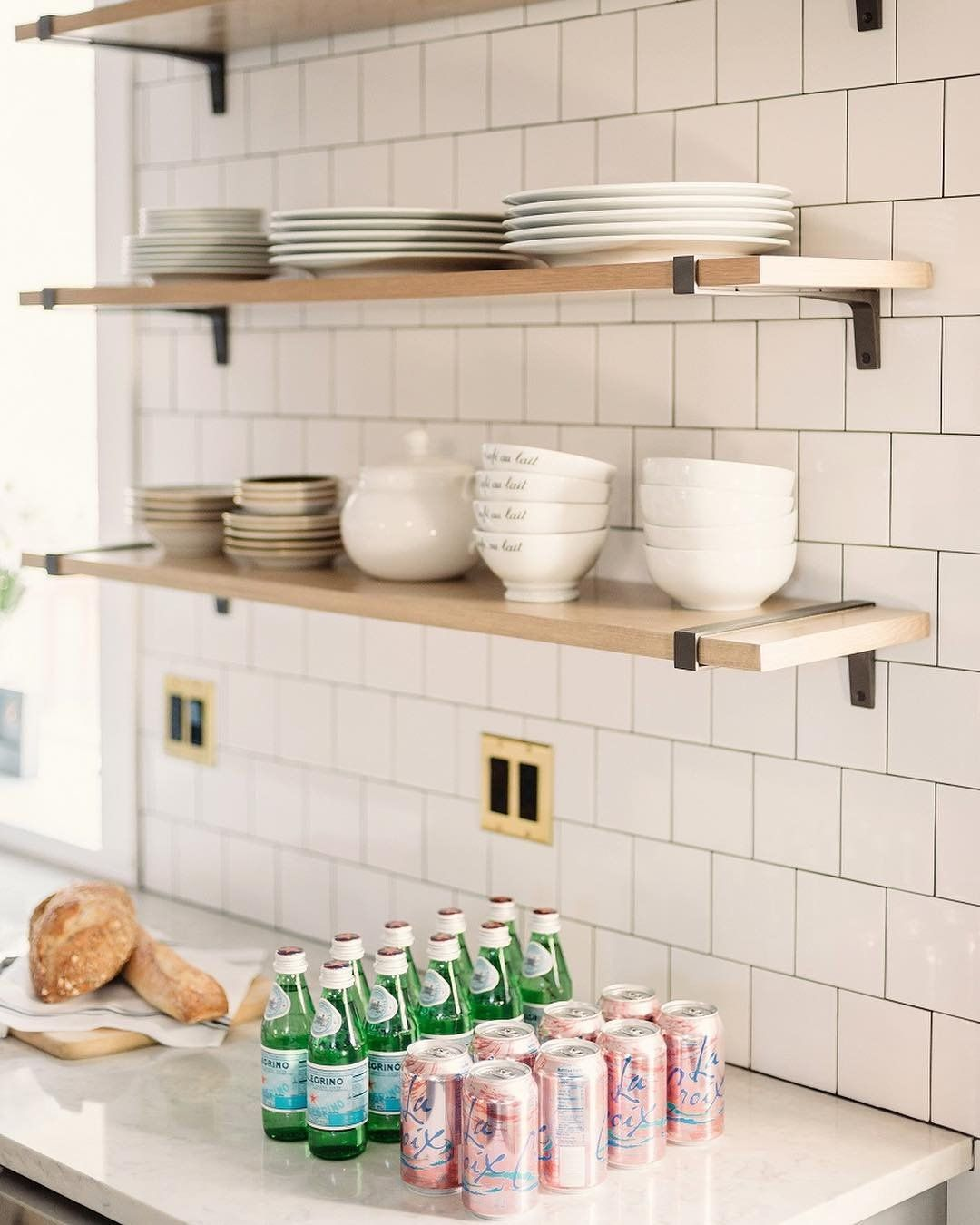 White Kitchen Shelf: Open Shelving. Shelving. White Tile. Wood Shelves. Black