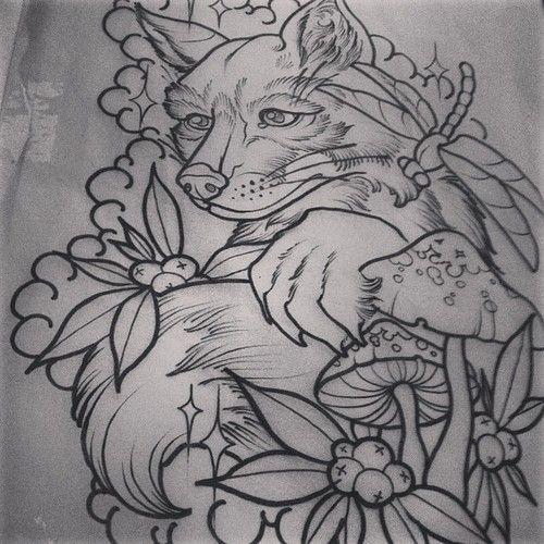 Neo Traditional Fox Tattoo Tattoos By Simba Foxy Tattoos Fox Tattoo Mandala Tattoo Leg