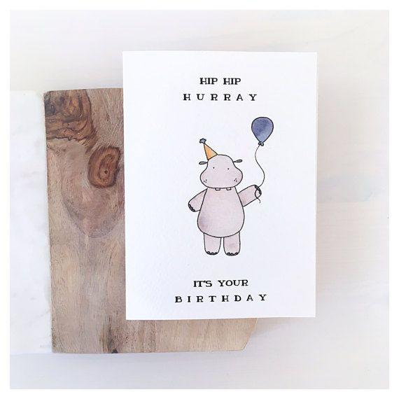 Hippo Birthday Card Birthday Card Funny Birthday Card Funny Birthday Greeting Card Funny Birthday Gift Funny Birthday Card For Friend Birthday Card Drawing Funny Birthday Cards Watercolor Birthday Cards