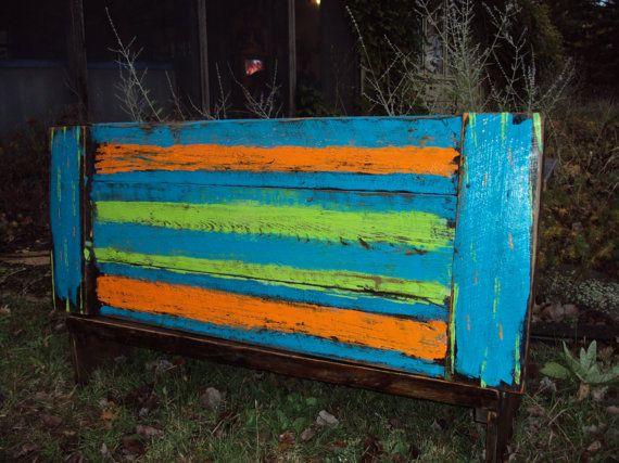 Reclaimed wood Headboard Abstract Wall Art Shabby Chic headboard Old Barn wood Abstract painting Distressed Bohemian Tribal wood art Painted...