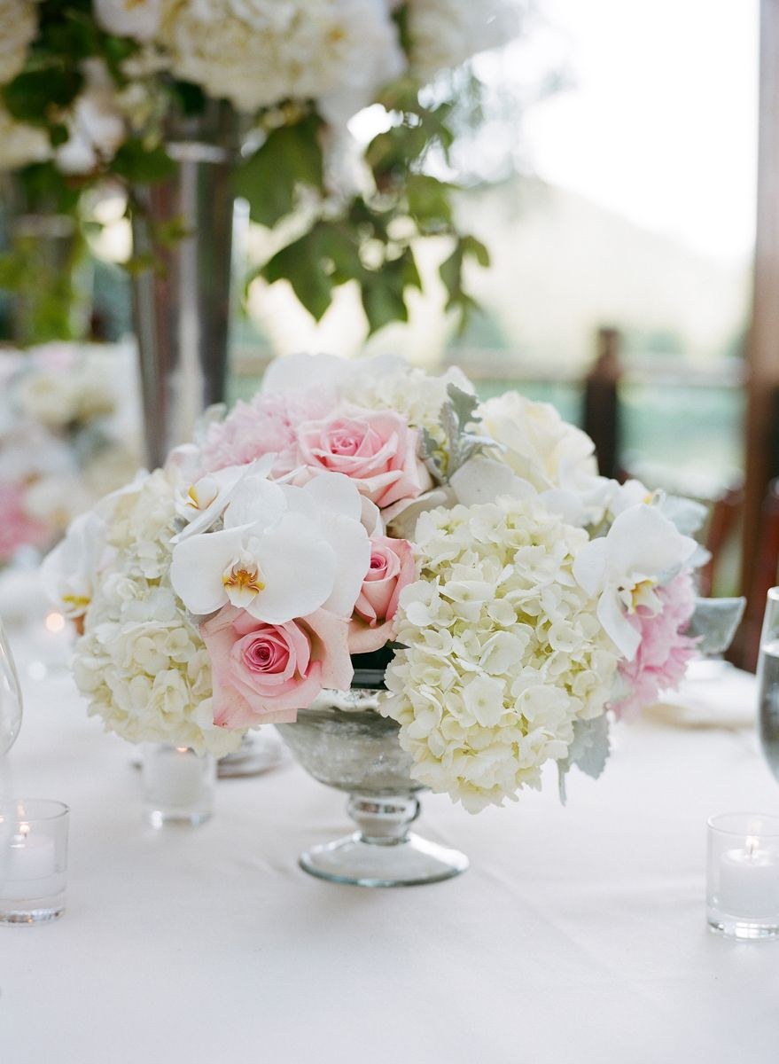 Low wedding reception centerpiece, white & pink flowers. Hydrangeas ...