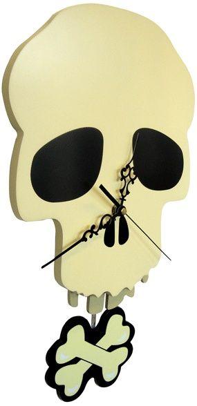 ☆ New Skull Clock Gothic Clock Mounted Pendulum Wall Clock :: Ebay Shop Banexbargain ☆
