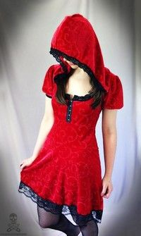 Red Riding Hood lace corset lolita dress - custom handmade to size - smarmyclothes fairytale halloween costume