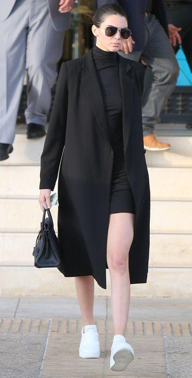 b8d81768a70a Kendall Jenner in a black turtleneck mini dress