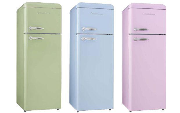 Retro Kühlschrank Rosa : Retro kühlschränke in candy farben maigrün bleu rosa candy