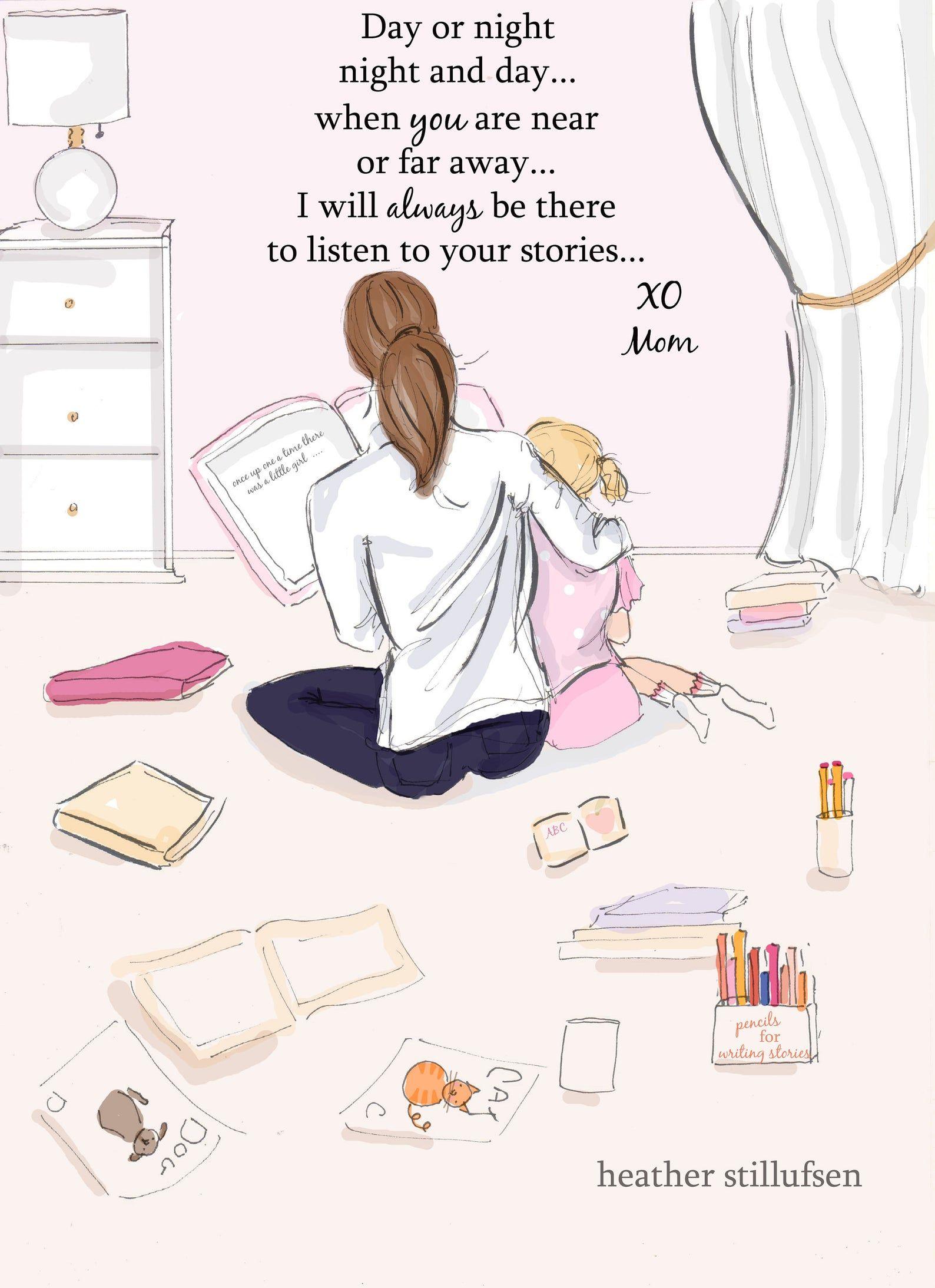 Notas de mamá-escucha historias-mamá e hija arte-regalos del día de la madre-arte para las mamás-arte inspirador para las mujeres