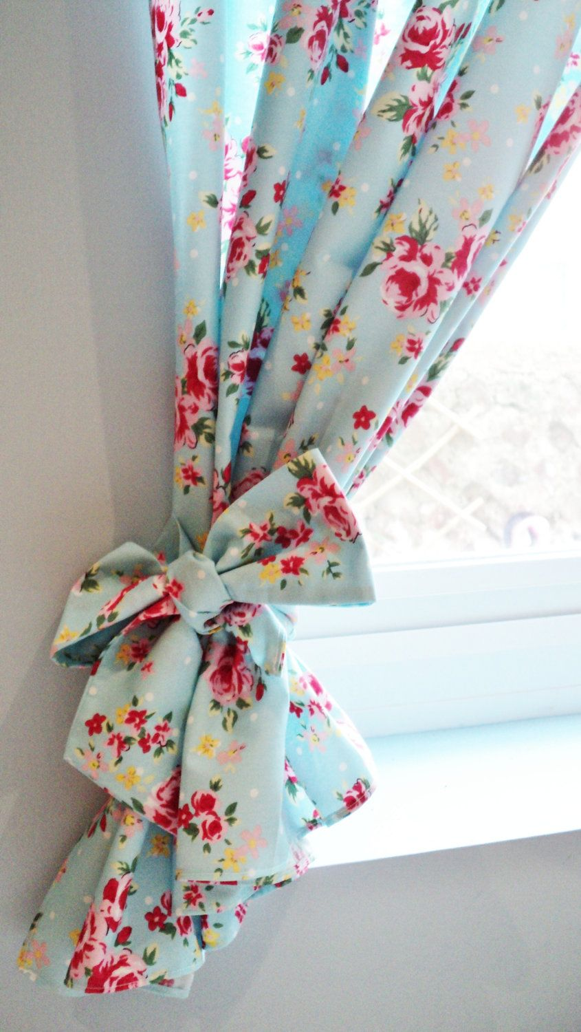 Shabby chic curtains blue - Shabby Chic Blue Rose Floral Curtain Kitsch Retro Vintage Made To Order Curtains 55 00