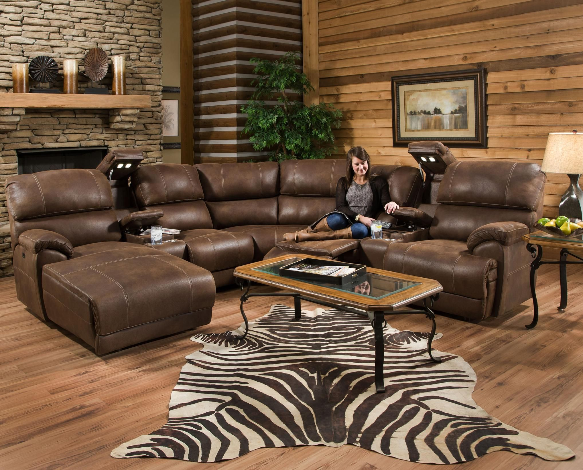 Homelegance Hankins Plush Chocolate Reclining Sectional Sofa