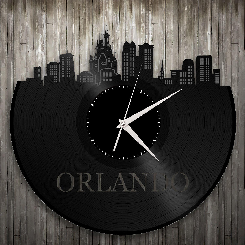 Vinyl Wall Clock Orlando Wall Clock Cityscape Clock Wall Art Clock Unique Wall Clock Large Wall Clock Vinyl Clock Wall Clock Clock Unique Wall Clocks