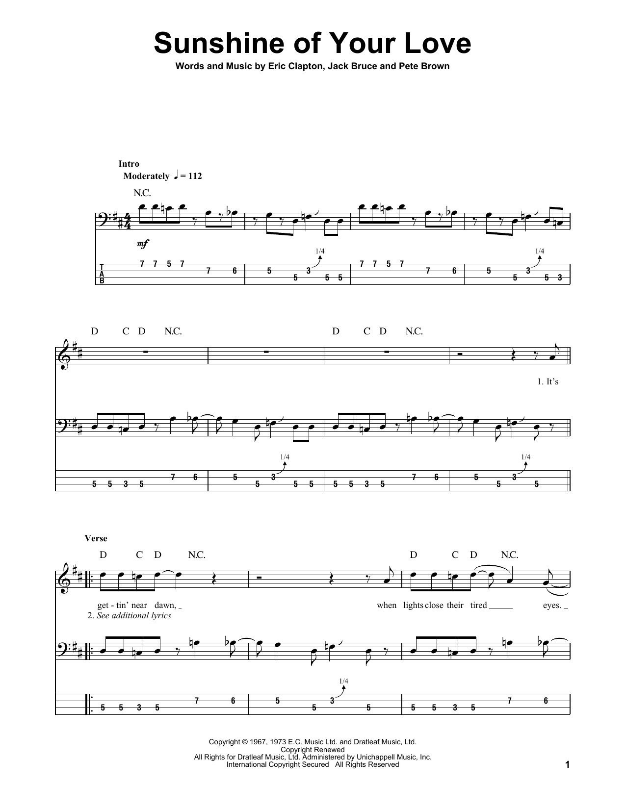 Sunshine Of Your Love By Cream Bass Tab Guitar Instructor Sunshine Of Your Love Bass Tabs Bass Guitar Tabs
