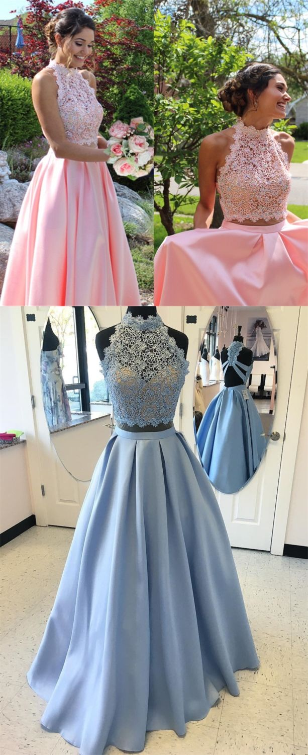 Two piece high neck open back beaded prom dress with lace prom