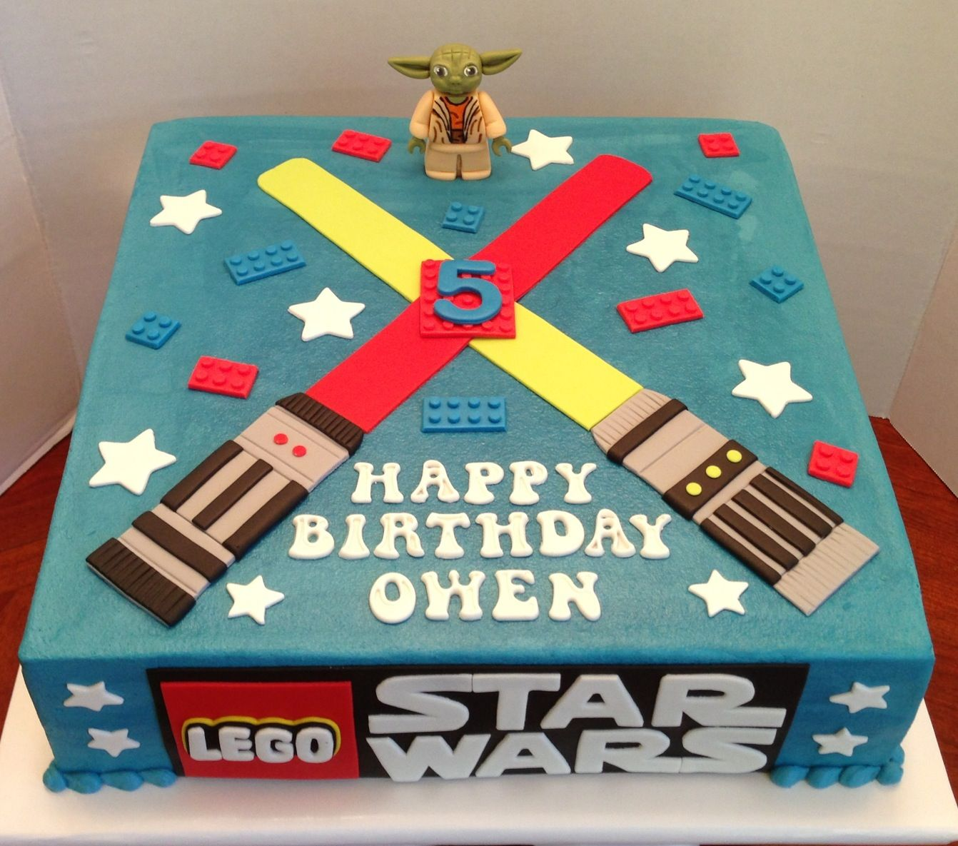 Lego Star Wars cake with Yoda mini figure. Original design by ?