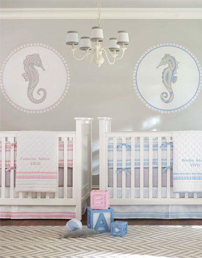 shared nursery 1 boy girl nautical seahorses twins pottery barn baby kids - Pottery Barn Babies Room