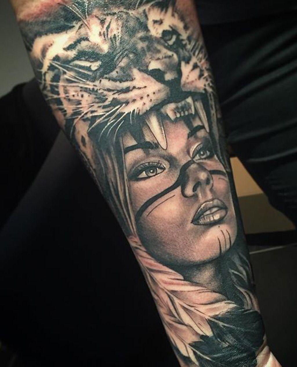 Idee Tattoo Daan Rechter Onderbeen Panterhoofd Met Ander