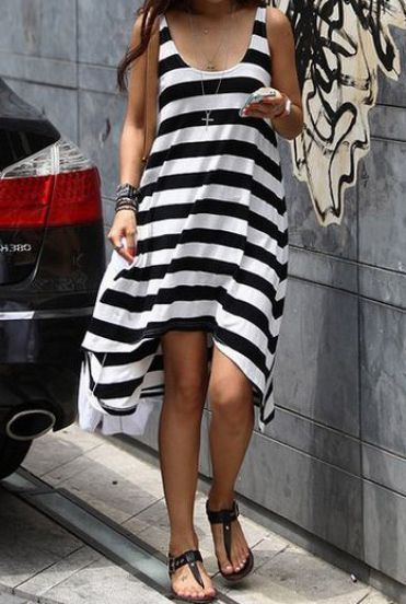 Black White Striped Sleeveless High Low Dress - cute!