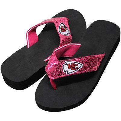 da34e784aa10b Kansas City Chiefs Ladies Sequin Wedge Flip Flops - Pink