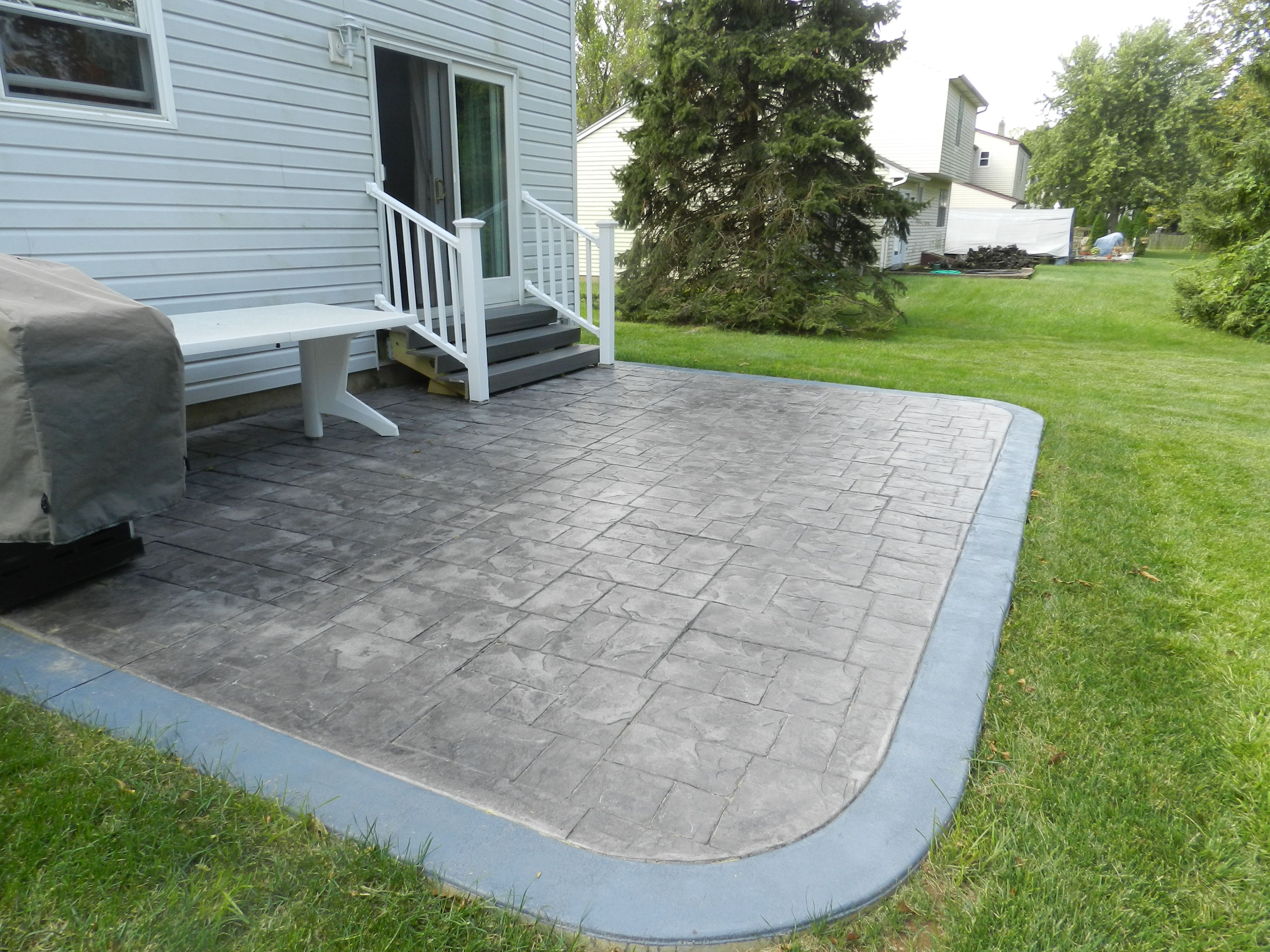 Lovely Stamped Concrete Patio With Smooth Border, Ashlar Slate Pattern,