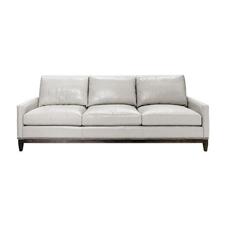 Dante 89 Leather Sofa In Leisure Grey