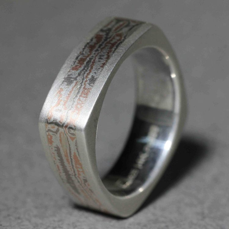 Hand Fabricated Custom Mens Wedding Band This Square Sterling Silver Comfort Fit Band Includes Tri Color 14k Rose Gold 14k Palladium White With Images Mens Wedding Bands