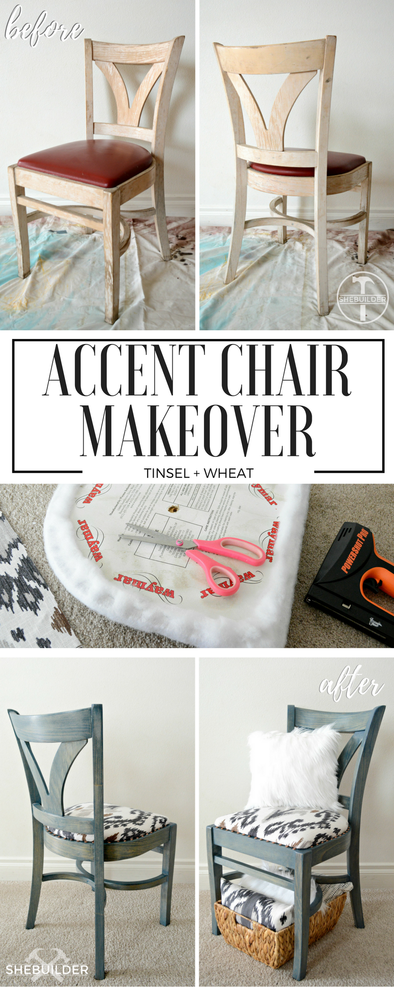 Accent Chair Makeover Upcycled Reupholstered Refinished Chair Love This Fabric By Vern Yip Desig Wood Chair Makeover Dining Chair Makeover Chair Makeover