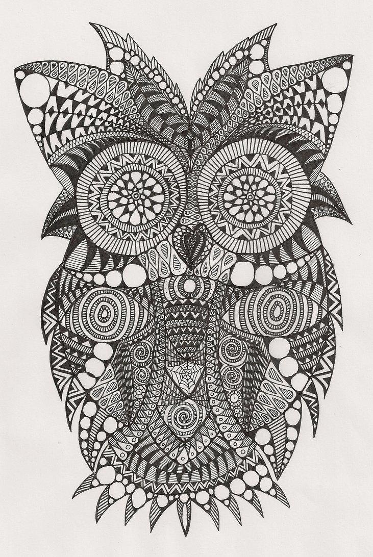 Abstrakcyjne Kolorowanki Dla Dzieci I Doroslych Zentangle Drawings Zentangle Art Black And White Owl