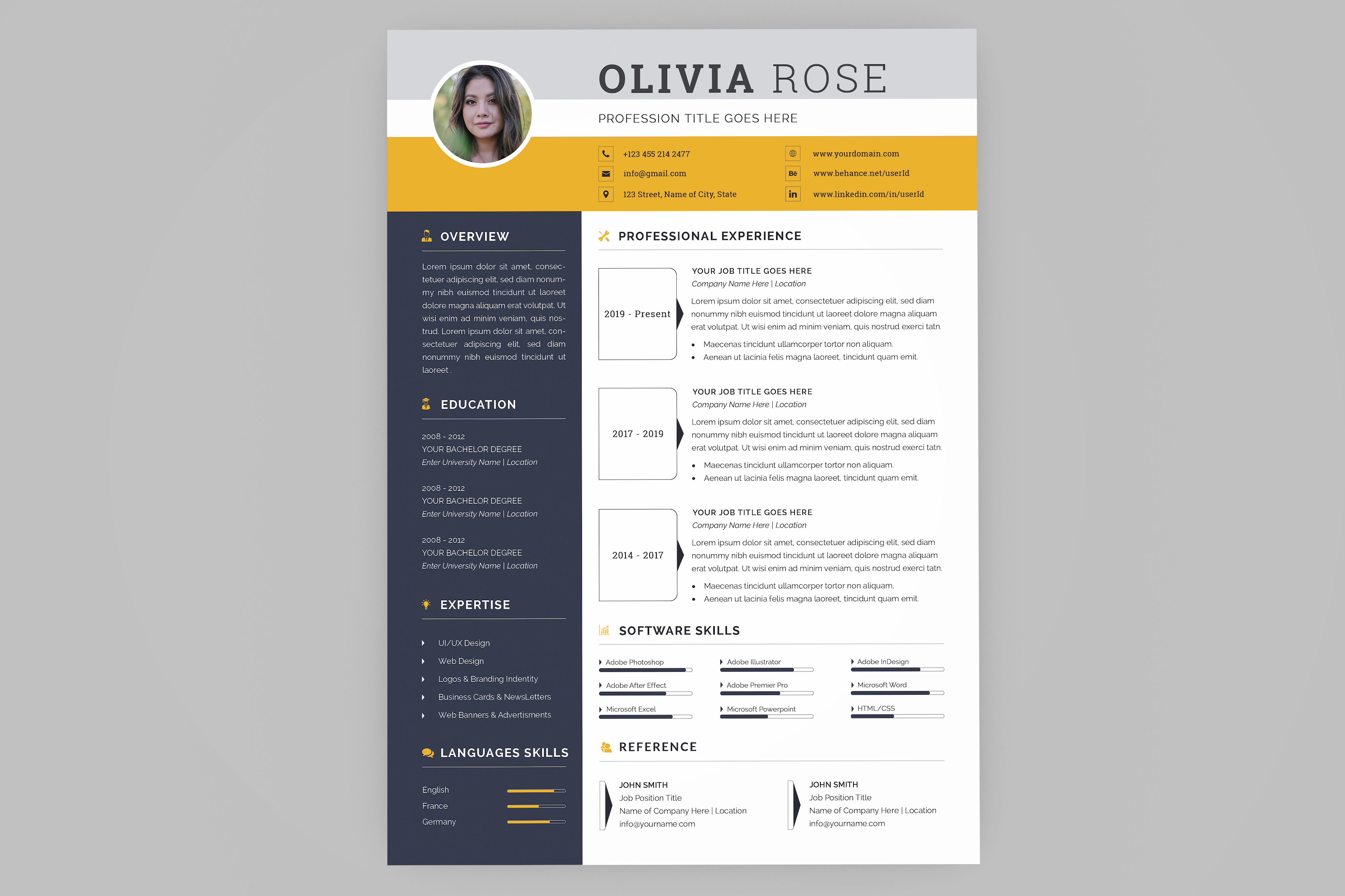 Resume/CV Template in 2020 Cv template, Resume, Resume