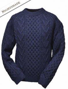 Mens Hand Knit Chevron Stitch Sweater Cables Pinterest