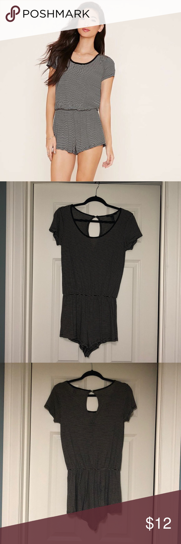 4d422732fc5d Forever 21 Striped Keyhole Romper Small Super comfy black and cream striped  short sleeved romper!! Perfect to throw on for any occasion!