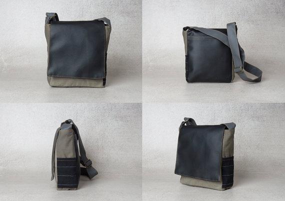 Black Purse For Men Vegan Shoulder Strap Bag Unisex Crossbody Bag Mens Day Bag Small Canvas Messenger Bag