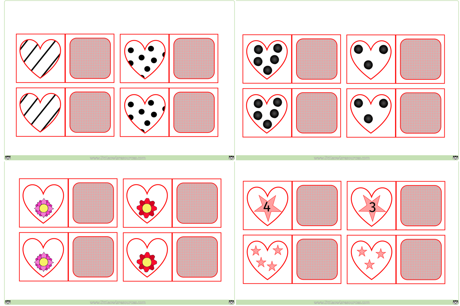 Free Match Heart Cards Printable Early Years Ey Eyfs