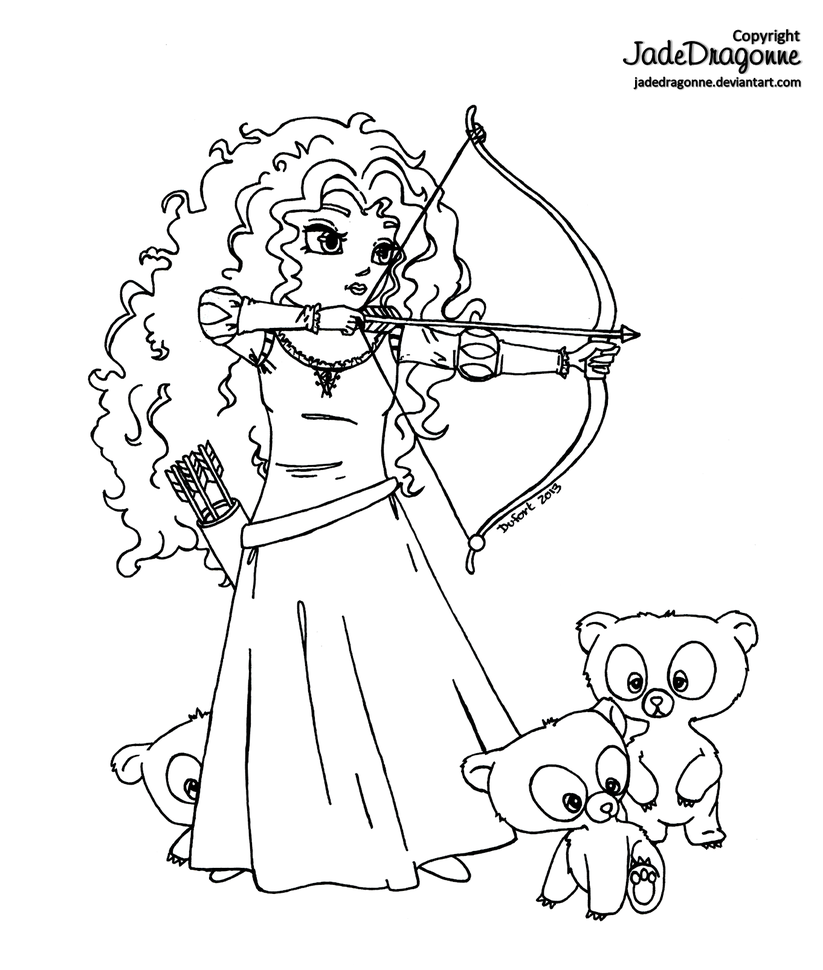 Merida from Brave - Lineart | Coloring pages, Disney coloring pages,  Cartoon coloring pages