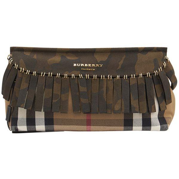 72a81c8574df Pre-Owned Burberry Prorsum Camo Fringe Nova Check Canvas   Leather... (