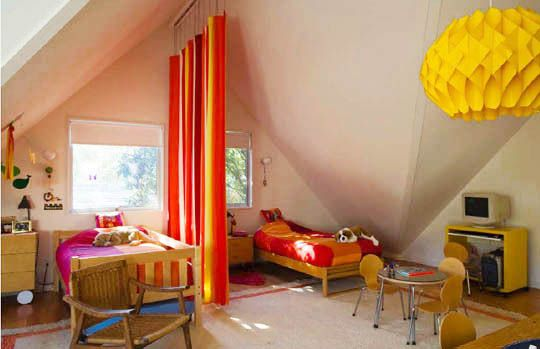 design solutions for shared kids bedrooms | curtain room dividers