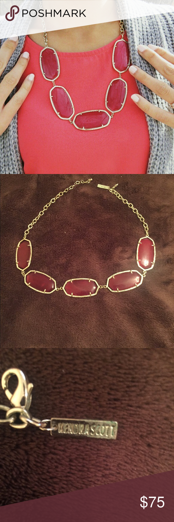 Kendra Scott Necklace Beautiful Kendra Scott Necklace with a bright red color that catches the eye. Kendra Scott Jewelry Necklaces