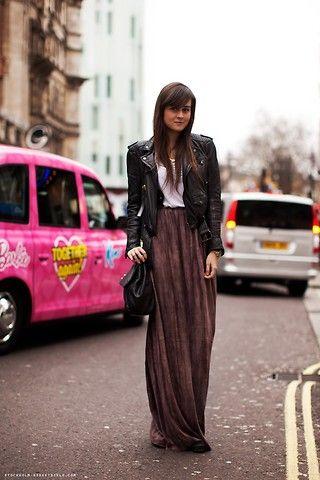 maxi skirt, leather jacket