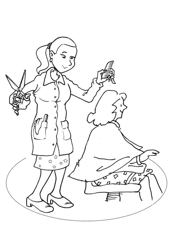 Free Online Hairdresser Colouring Page Kids Activity Sheets People Colouring Pages Activity Sheets For Kids People Coloring Pages Activities For Kids