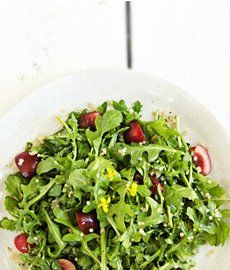 Wild Arugula Quinoa Salad  with quinoa, cherries, arugula, lemon juice, Dijon mustard, fig jam, honey, extra virgin olive oil, salt, and pepper