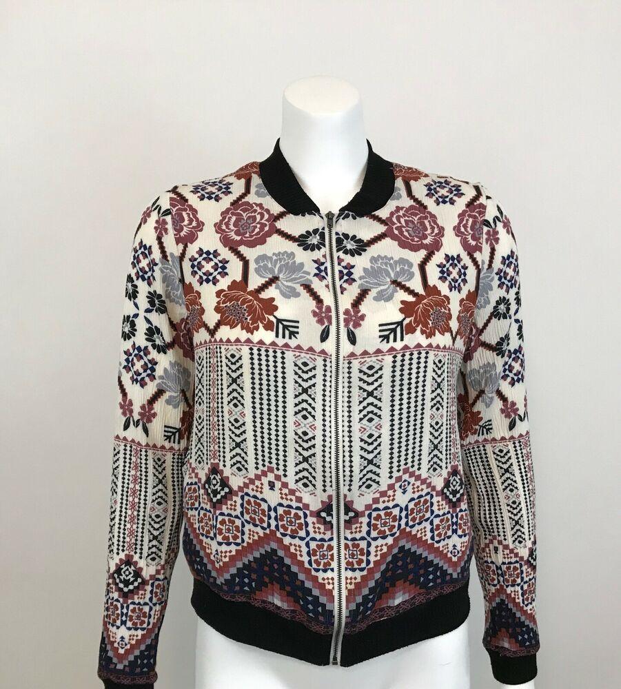 98ee205d4b Chloe & Katie Printed Bomber Jacket Womens Size M Long Sleeve ...