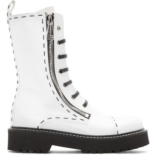 Dolce and Gabbana White Leather Combat Boots ($1,530) ❤ liked on Polyvore featuring shoes, boots, white, mid calf boots, mid-calf lace up boots, mid calf leather boots, white lace up boots and military boots