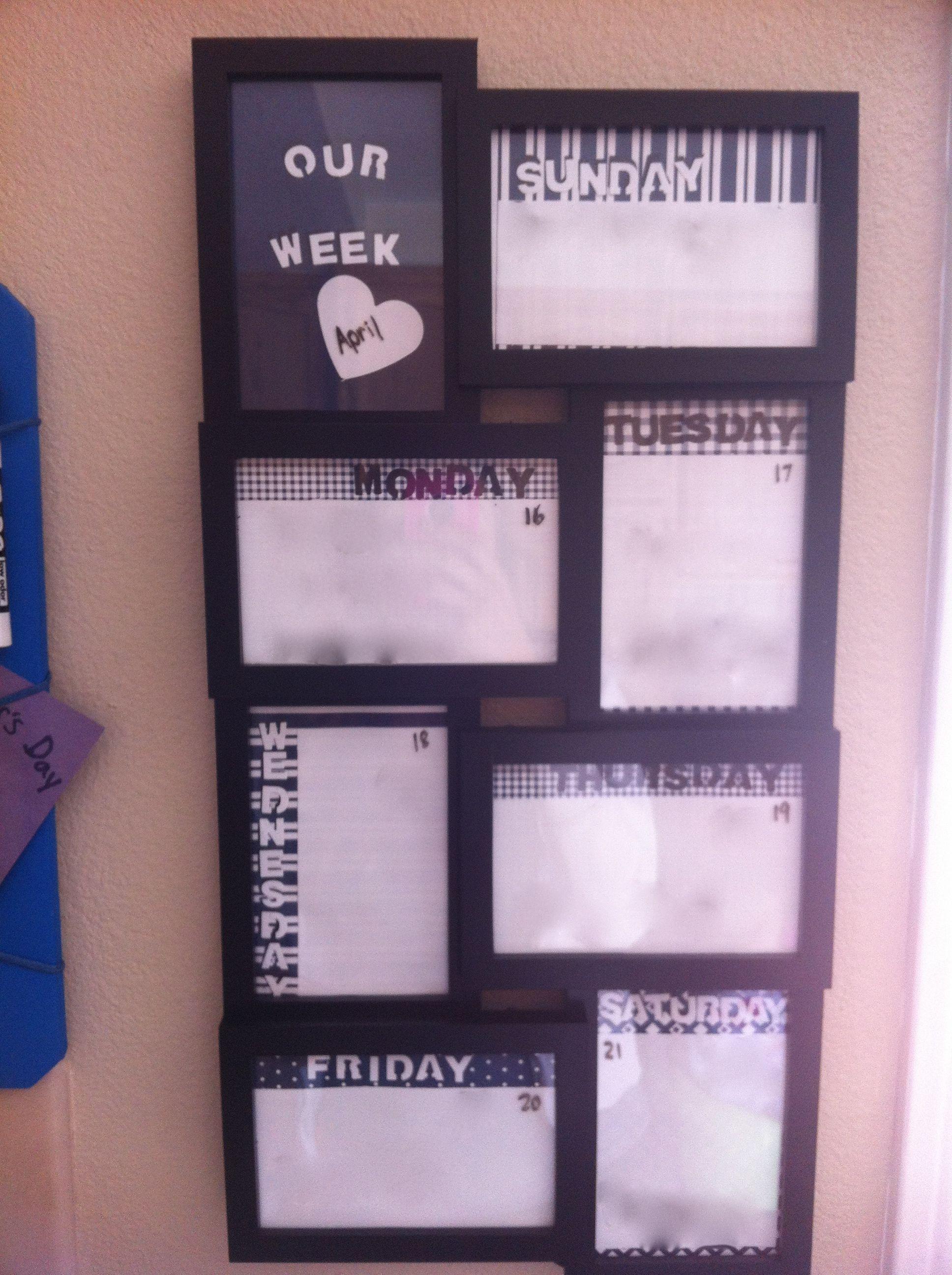 Chalkboard Calendar Walmart : Walmart frame diy dry erase weekly calendar my pinterest