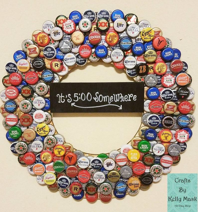Beer Bottle Cap Wreath. Assorted Beer Bottle Caps! Perfect Gift for Beer Lovers. It's 5:00 Somewhere!