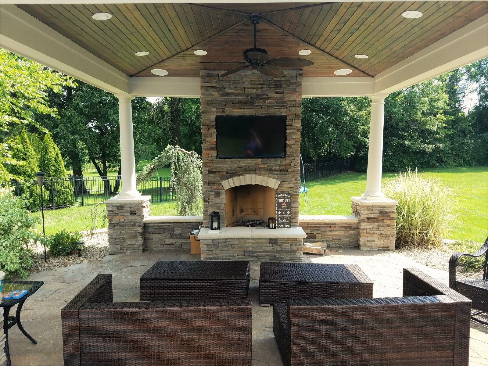 Pavilion With Fireplace And Inset For Flat Screen Tv
