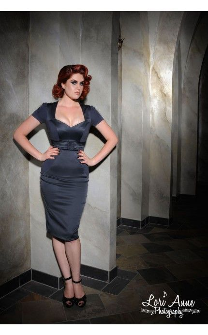 Pris Dress in Grey Knit and Satin - Dresses - Clothing | Pinup Girl Clothing #pinupgirlclothing #laurabyrnes