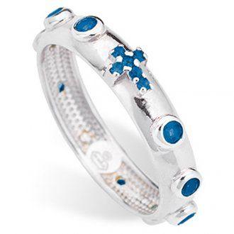c43dc0c893e8 Anillo rosario AMEN plata 925 circones azules Rodio