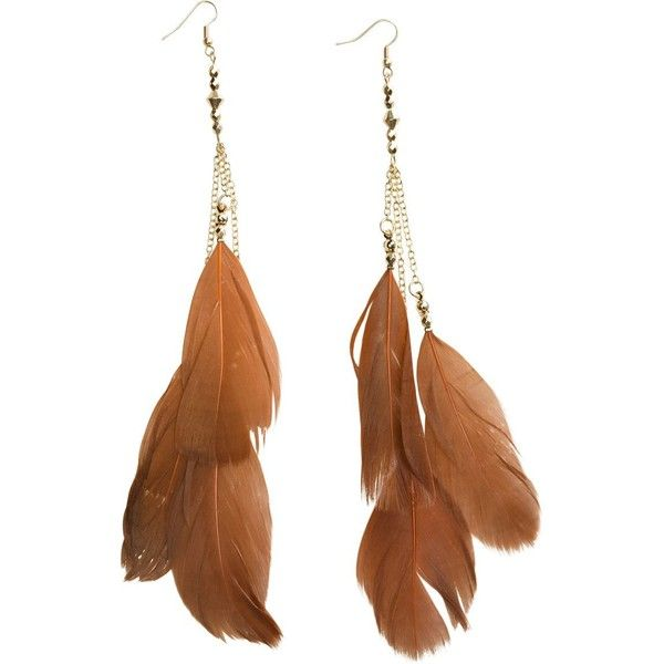 Swell Brown Layered Earring (€15) ❤ liked on Polyvore featuring jewelry, earrings, accessories, pocahontas, bijoux, women, dangle earrings, long earrings, brown feather earrings and feather earrings