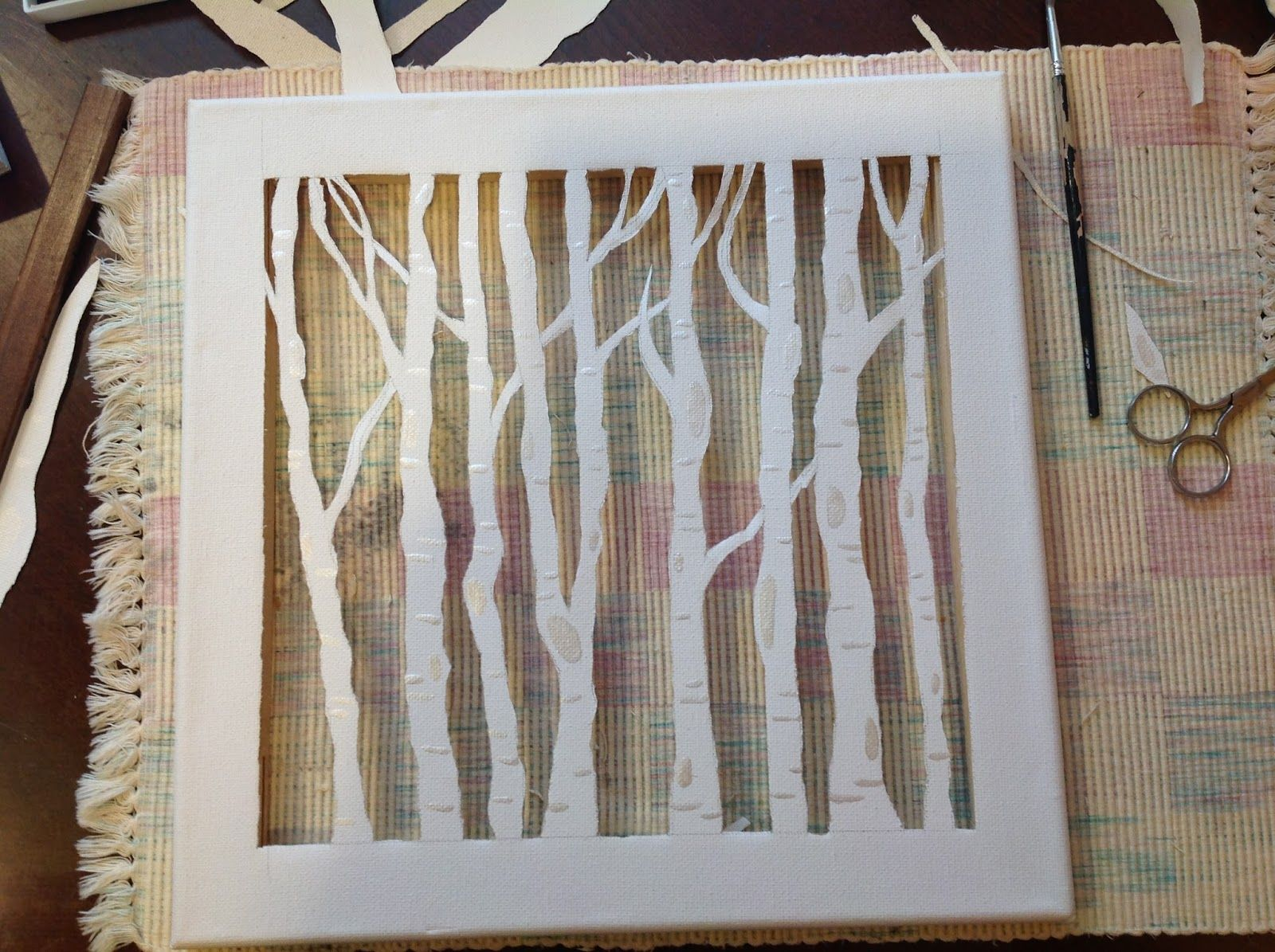 the sandalwood box birch trees canvas cutout birch trees