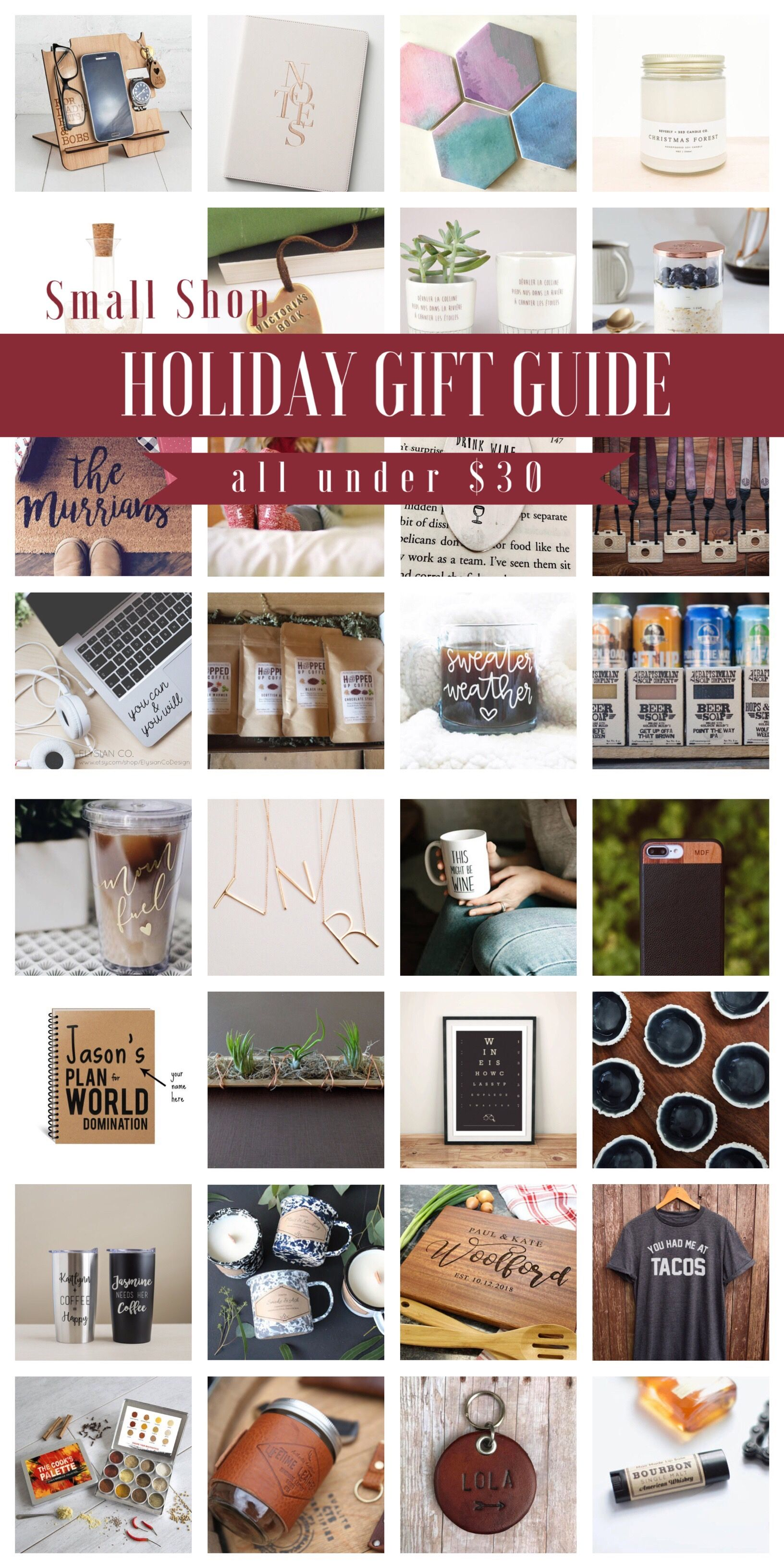 52 Small Shop Gift Ideas For Mom Dad All Under 30 The Overwhelmed Mommy Inexpensive Holiday Gifts Holiday Gift Guide Toddler Christmas Gifts